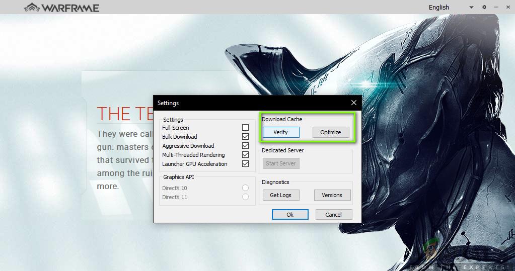 Überprüfen von Spiel- und Cache-Dateien - Warframe