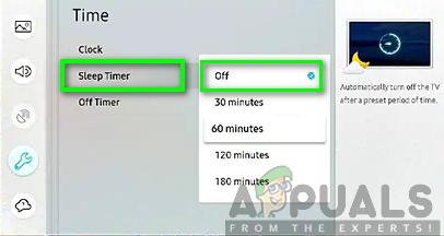 Turning the sleep timer off samsung black screen