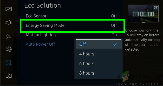 Turning off the energy-saving mode