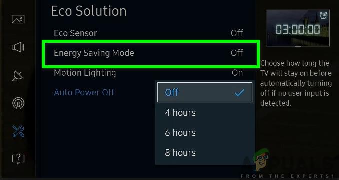 Turning off the energy-saving mode