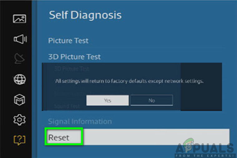 Clicking the reset option