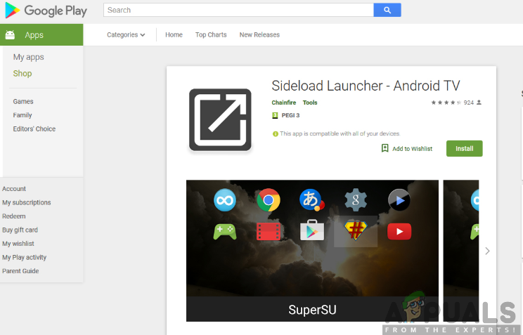 Installation of Sideload Launcher app