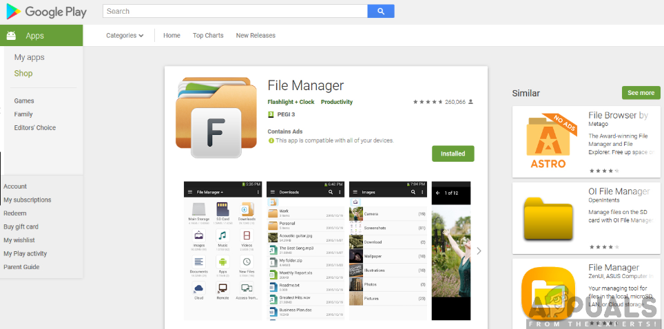 Downloading file manager app