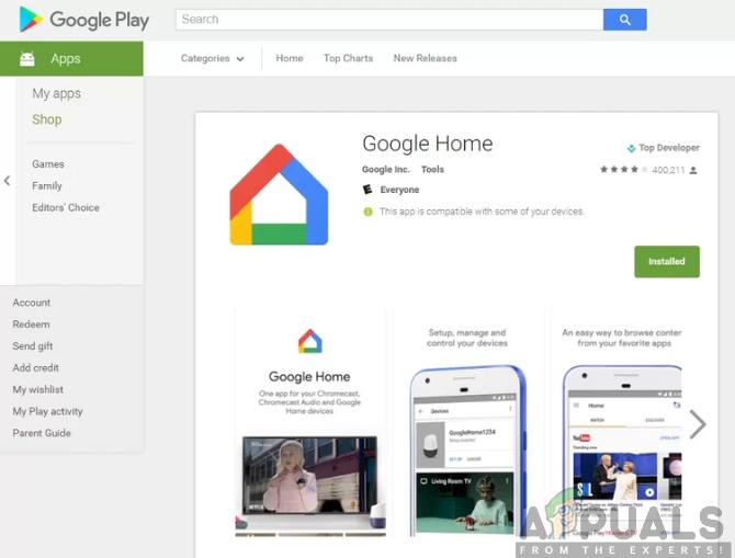 Installieren der Google Home-App aus dem Google Play Store