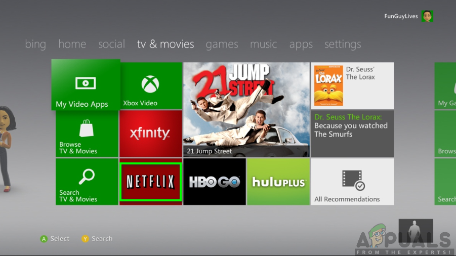 Netflix app on Xbox 360