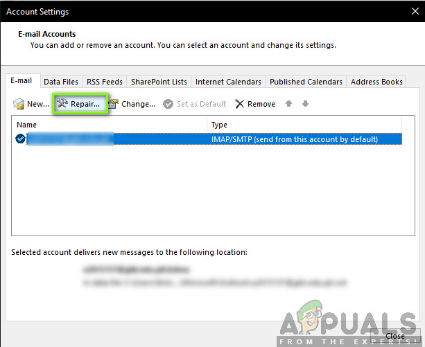 Repairing Outlook Account