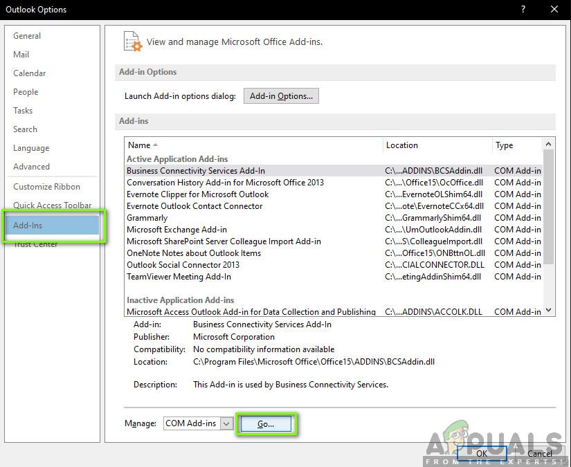 Add-in settings - Outlook