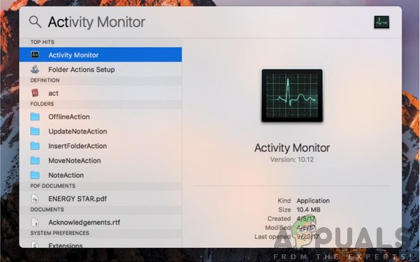 Searching for Activity Monitor - Mac OS