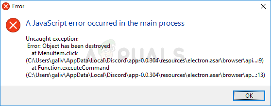 How to Fix the 'A JavaScript Error Occurred in the Main Process' Error in Discord? - Appuals.com