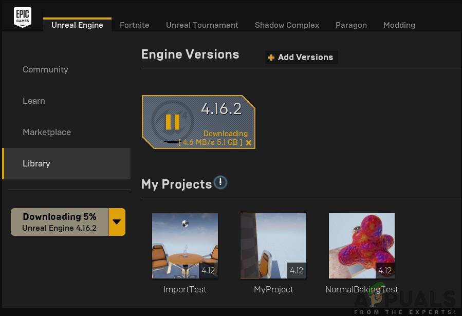Aktualisieren der Unreal Engine