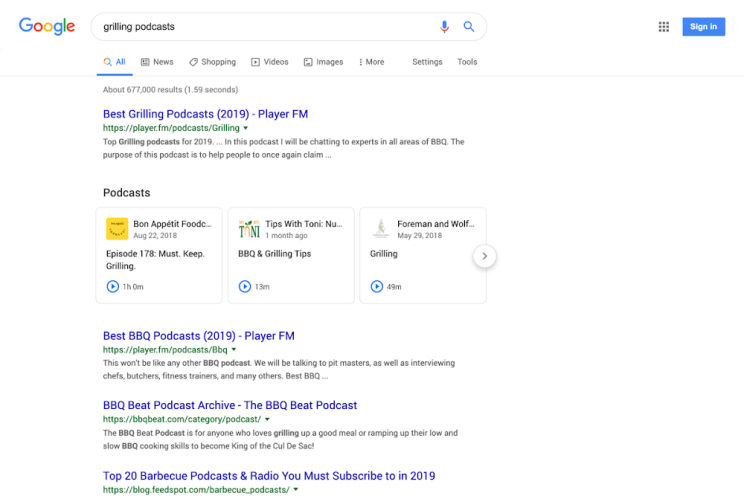 Google podcast search web