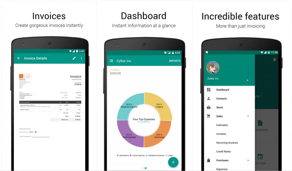 Zoho Invoice Android app