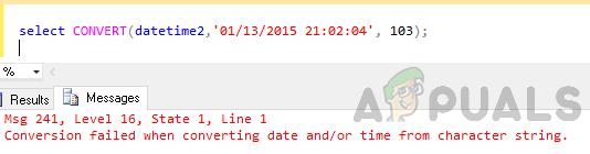 date time conversion error