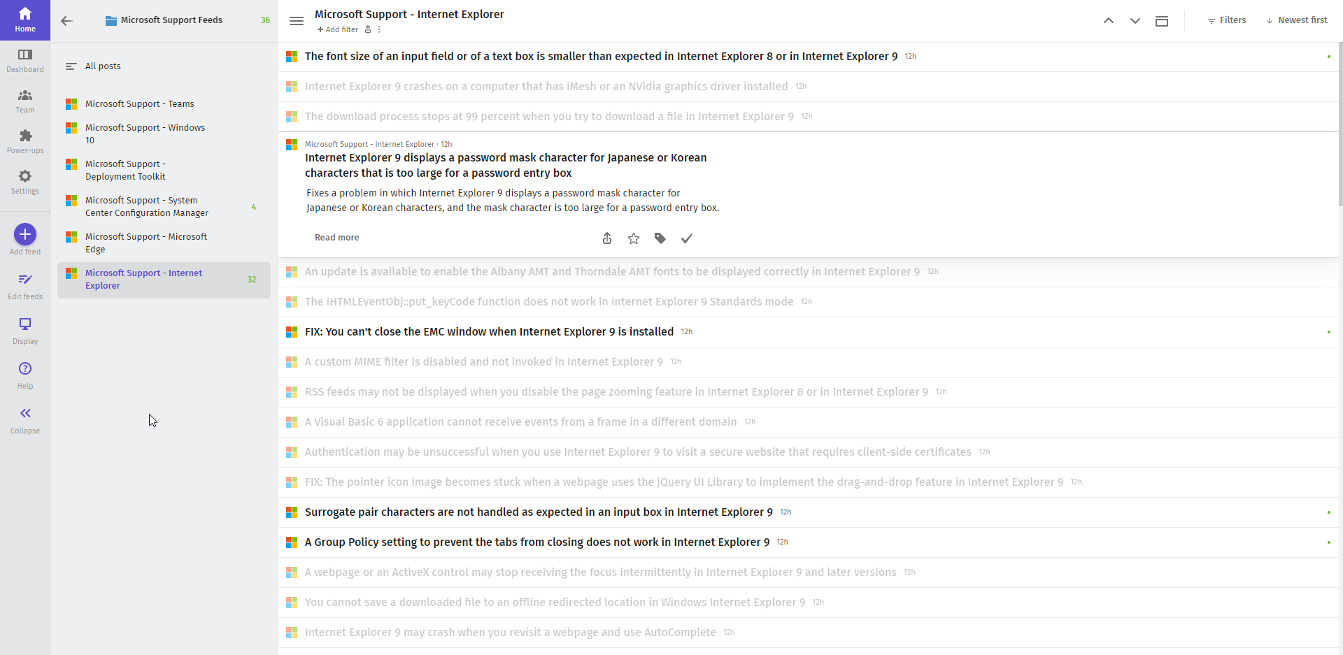 IE RSS Feed