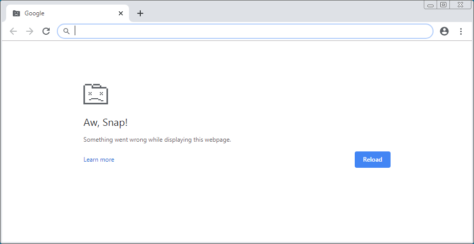 Chrome Aw, Snap Error