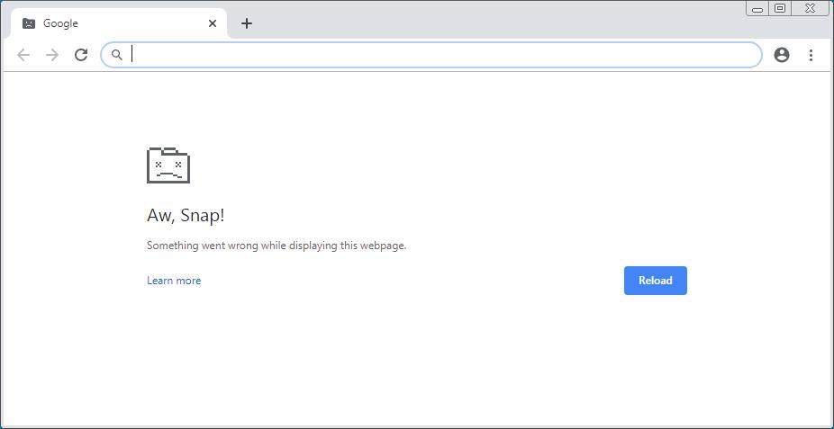 Chrome crash page