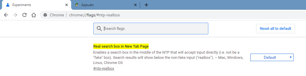 real search box chrome