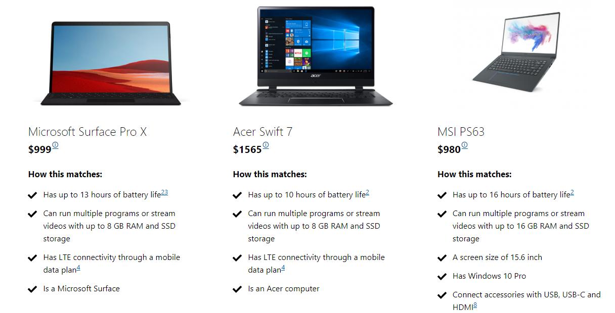 Microsoft's help me choose tool