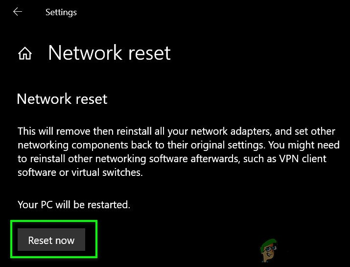 Resetting your Network Settings