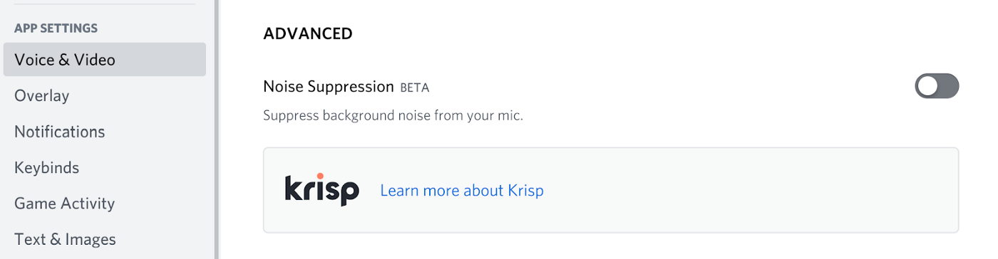 Discord Noise suppression additional controls