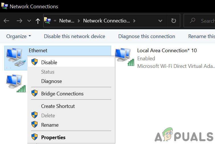 Disabling your Network Adaptor