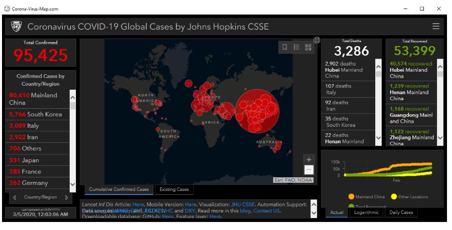 Fake coronavirus map website