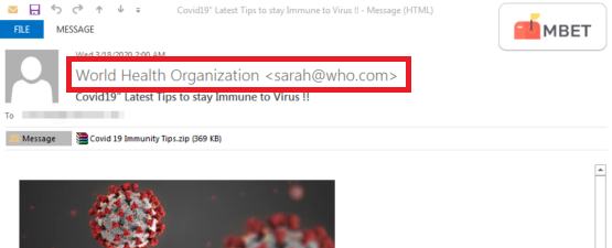 Fake email address on a phishing email