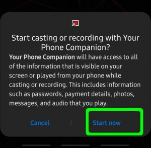 Allow screen casting permissions