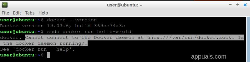 Docker connection error