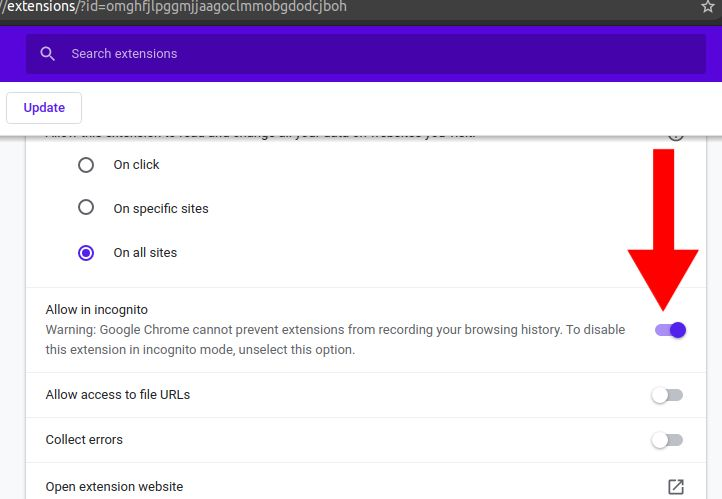 enabling extension in incognito