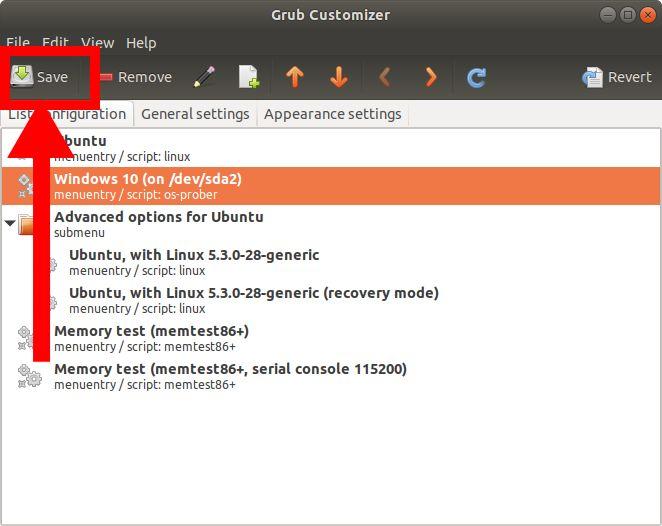 Save Grub Customizer settings