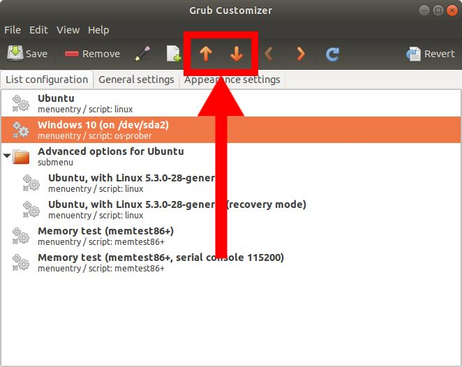 Grub Customizer settings