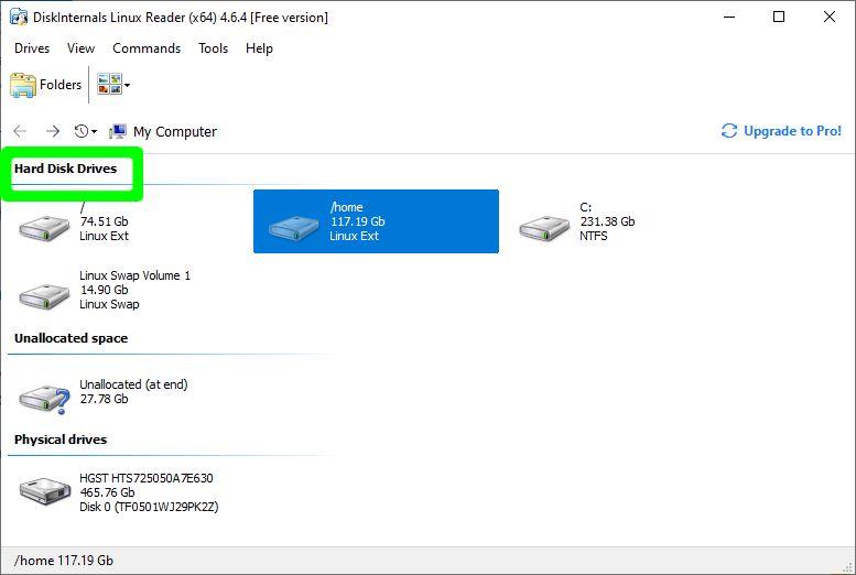 Startbildschirm des Linux-Readers