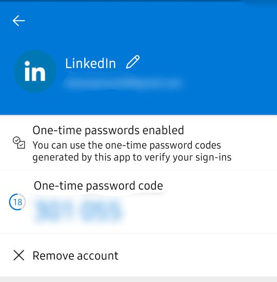 Microsoft Authenticator one time code