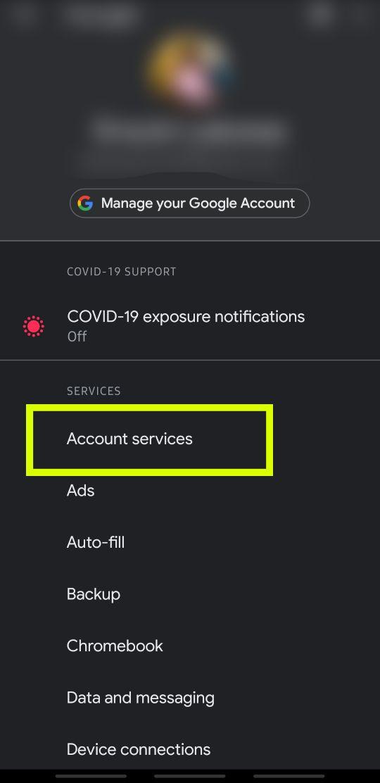 Google-Kontodienste öffnen