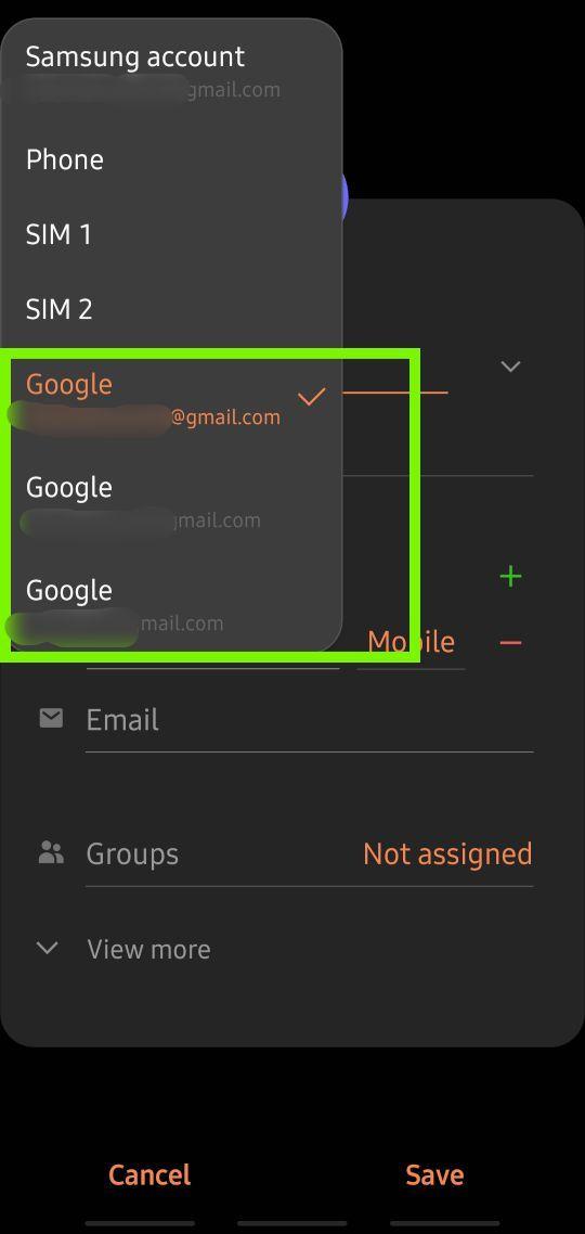 Google-Konto für neuen Kontakt auswählen new