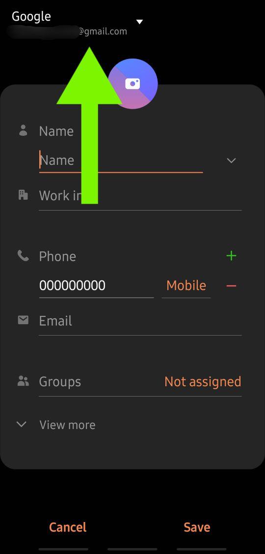 Google-Konto für Kontakt ändern