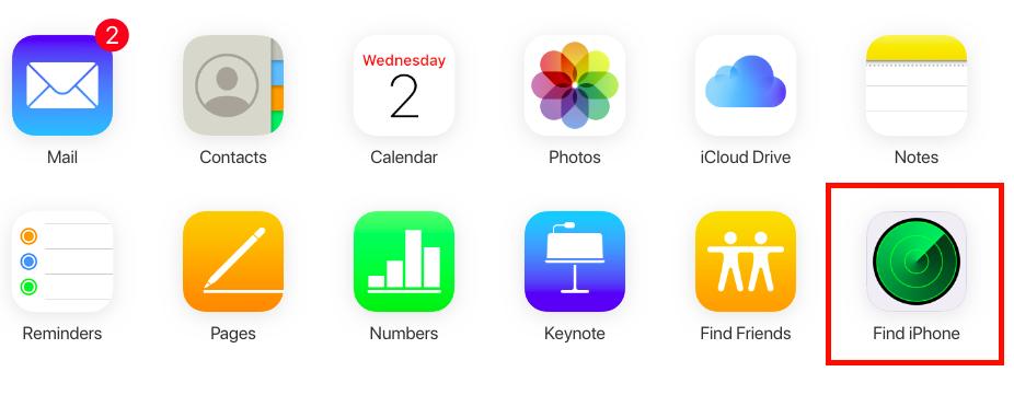 iCloud app menu