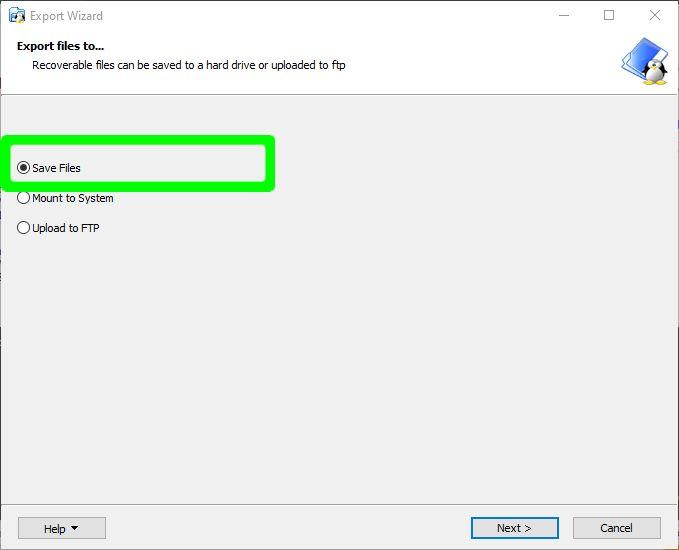 Wählen Sie Dateien als Übertragungsmethode speichern