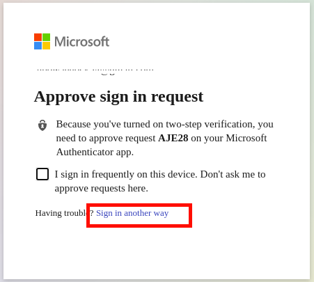 Sign in to Microsoft with another way