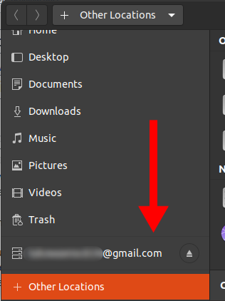 Google Account displayed in file manager