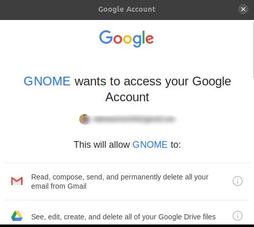 Grant Gnome access to Google