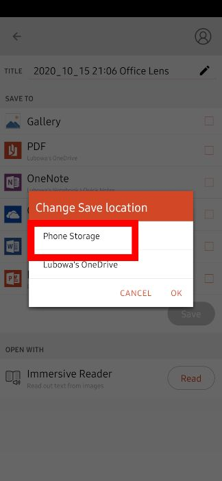 Select Phone storage as storage type