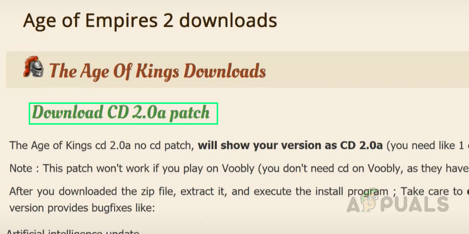 Downloading CD 2.0a Patch File
