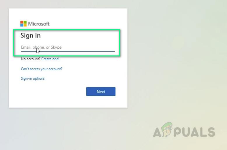 Providing Microsoft Login Credentials