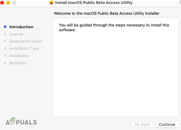 Continue to Install the macOS Public Beta Access Utility