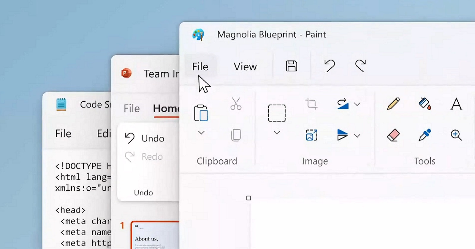 Paint, PowerPoint, and Notepad
