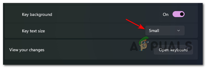 adjusting the key text size