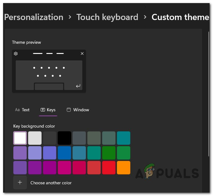 customizing the theme for the touch keyboard