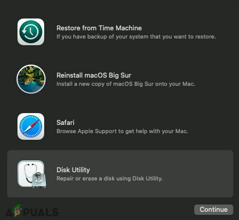 Click on Disk Utility